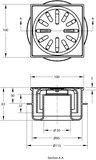 Vloerput 100x100mm onderaansluiting 50mm_