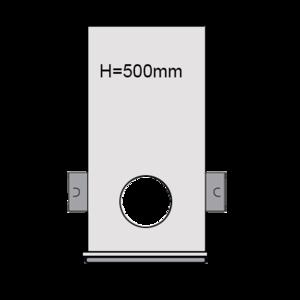 PVC Drainageput Ø315 H=500mm ( 2x aansluiting Klikmof 80mm/1x aansluiting 125mm )