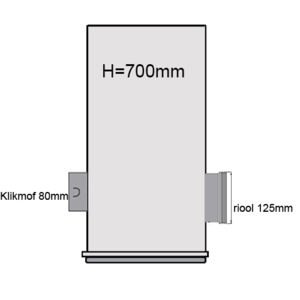 PVC drainput Ø315 H=700mm ( 1x aansluiting Klikmof 80mm/1x aansluiting 125mm )