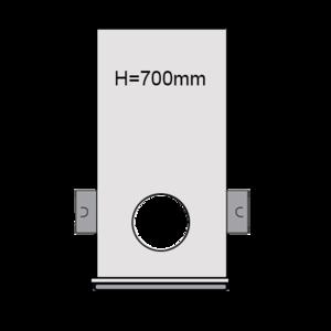 PVC drainput Ø315 H=700mm ( 2x aansluiting Klikmof 80mm/1x aansluiting 125mm )