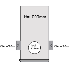 PVC Drainageput Ø315 H=1000mm ( 2x aansluiting Klikmof 80mm/1x aansluiting 125mm )